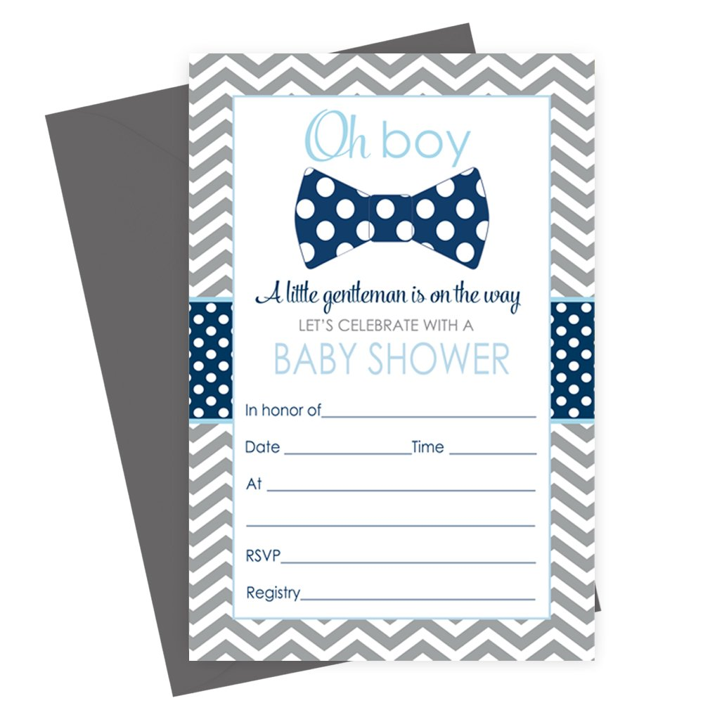 Bow Tie Baby Shower Invitations (Fill In) Set of 15 with Envelopes Navy & Grey Paper Clever Party
