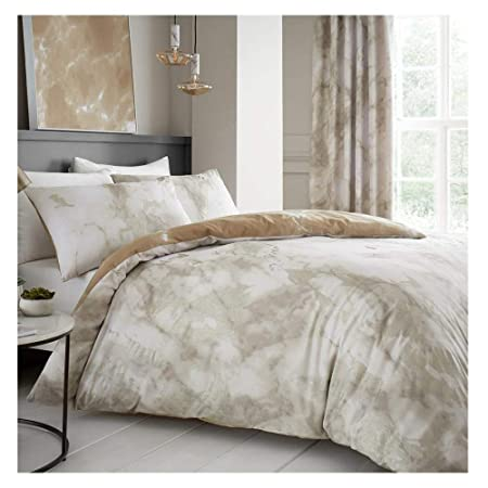 Lions Marble Effects Luxury Duvet Cover With Pillow Case Reversible