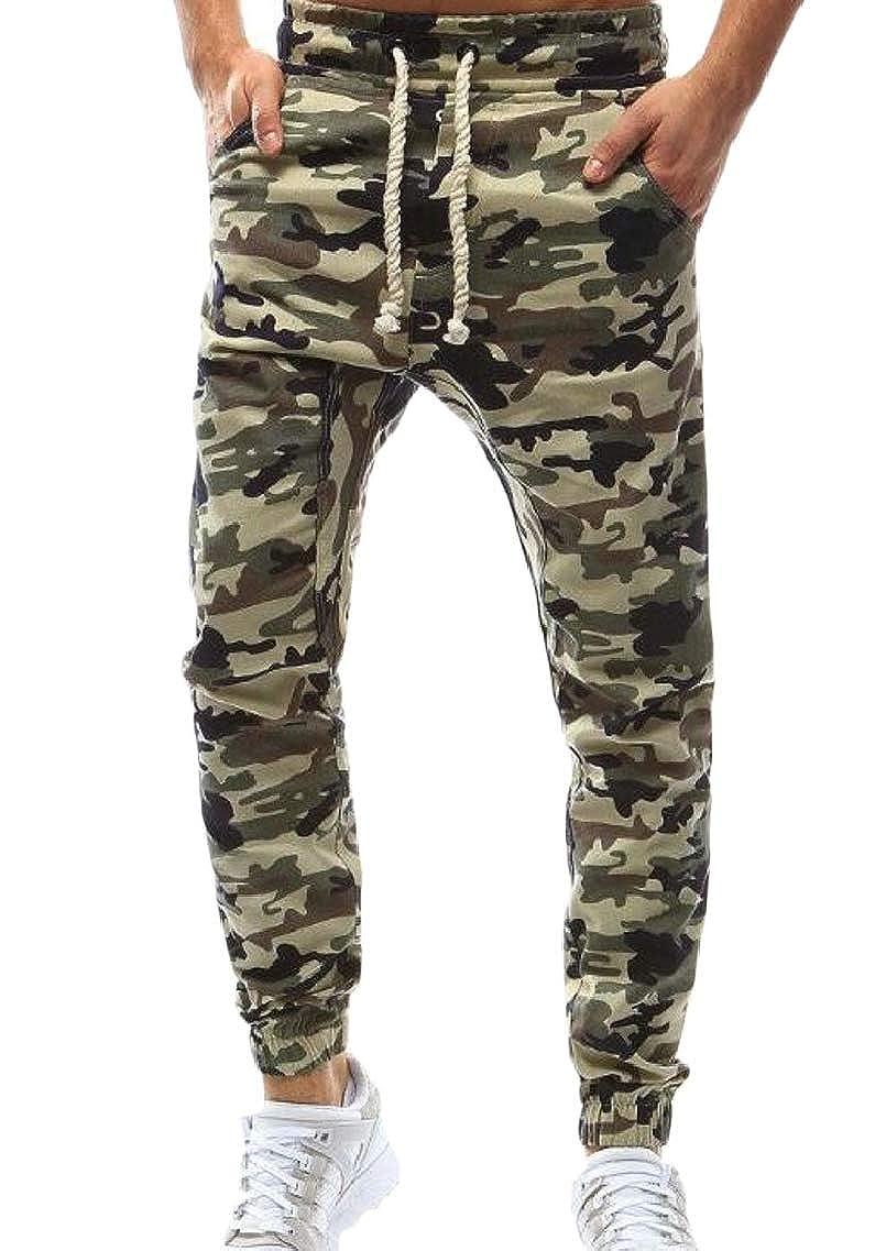 Fubotevic Mens Elastic Waist Jogger Fashion Drawstring Camouflage Print Long Pants