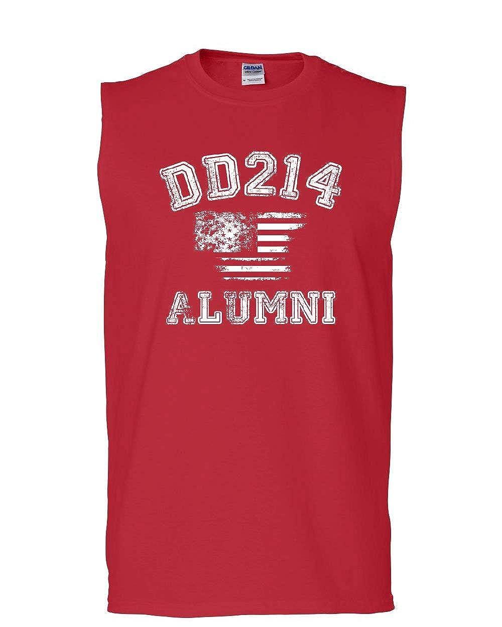 Tee Hunt DD214 Alumni Distressed American Flag Muscle Shirt Military Veteran Sleeveless