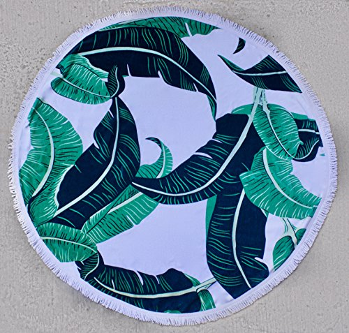 el 100% Cotton Velour Thick Large Tropical Banana Leaf Round 'Roundie' Beach Towel with Fringe Tassels 1.4 lbs 60 inches diameter 1.5 inches thick (Tropical Beach Towels)
