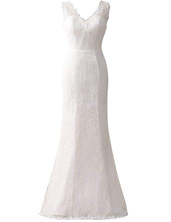 SongSurpriseMall Brautkleid Damen Lang Organza Meerjungfrau Hochzeitskleider V-Ausschnitt Abendkleider R/ückenfrei