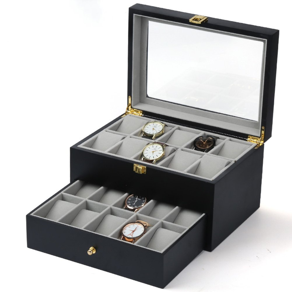 Decorative jewelry boxes,Leather Watch Storage box Sorting Bracelet collection box Jewelry display box-P