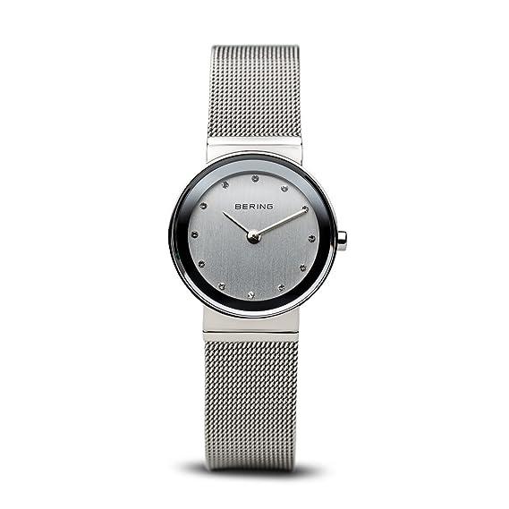 Bering Classic - Reloj analógico de mujer de cuarzo con correa de acero inoxidable plateada -
