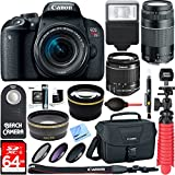 Canon EOS Rebel T7i DSLR Camera (1894C002) + 18-55mm IS STM & 75-300mm III Lens Kit + Accessory Bundle 64GB SDXC Memory + DSLR Photo Bag + Wide Angle Lens + 2x Telephoto Lens +Flash+Remote+Tripod