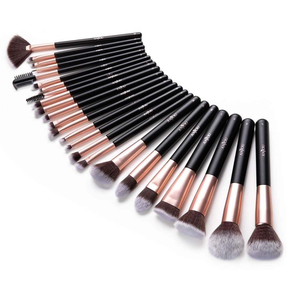 Anjou Makeup Brush Set, 24pcs Premium Cosmetic Brushes for Foundation Blending Blush Concealer Eye Shadow, Cruelty-Free Synthetic Fiber Bristles, Rose Golden