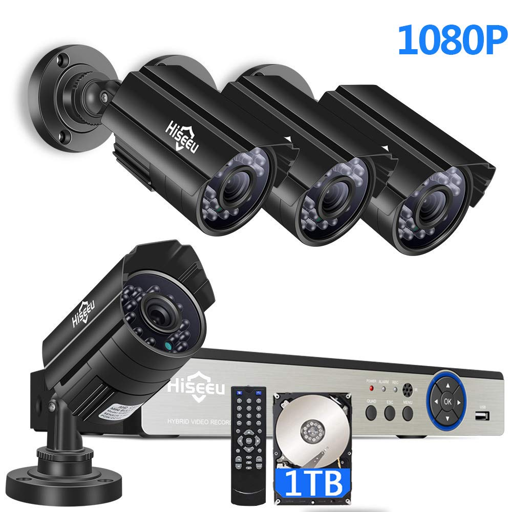 [Expandable 8CH] H.265+ Security Camera System,4Pcs 1080P AHD Cameras+8CH DVR,App Remote Viewing,Motion Detection Alarm,Night Vision,IP66 Waterproof,24/7 Record,Built-in 1TB Hard Drive