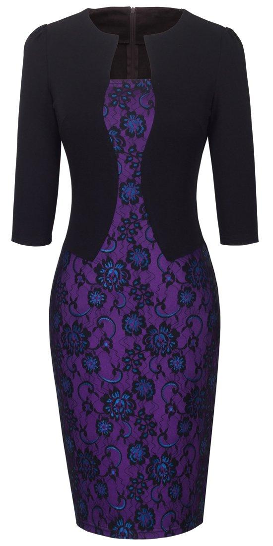 HOMEYEE Women's Vintage Colorblock Business Pencil Dress B237 (XL, Black Purple)