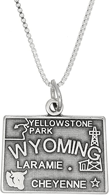 Wyoming Charm Sterling Silver State of Wyoming Charm for Necklace or Bracelet