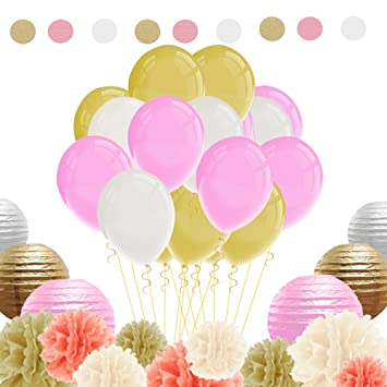 Immigoo Kit De 76 Pieces Decoration Fleurs De Papier Crepon Ballon