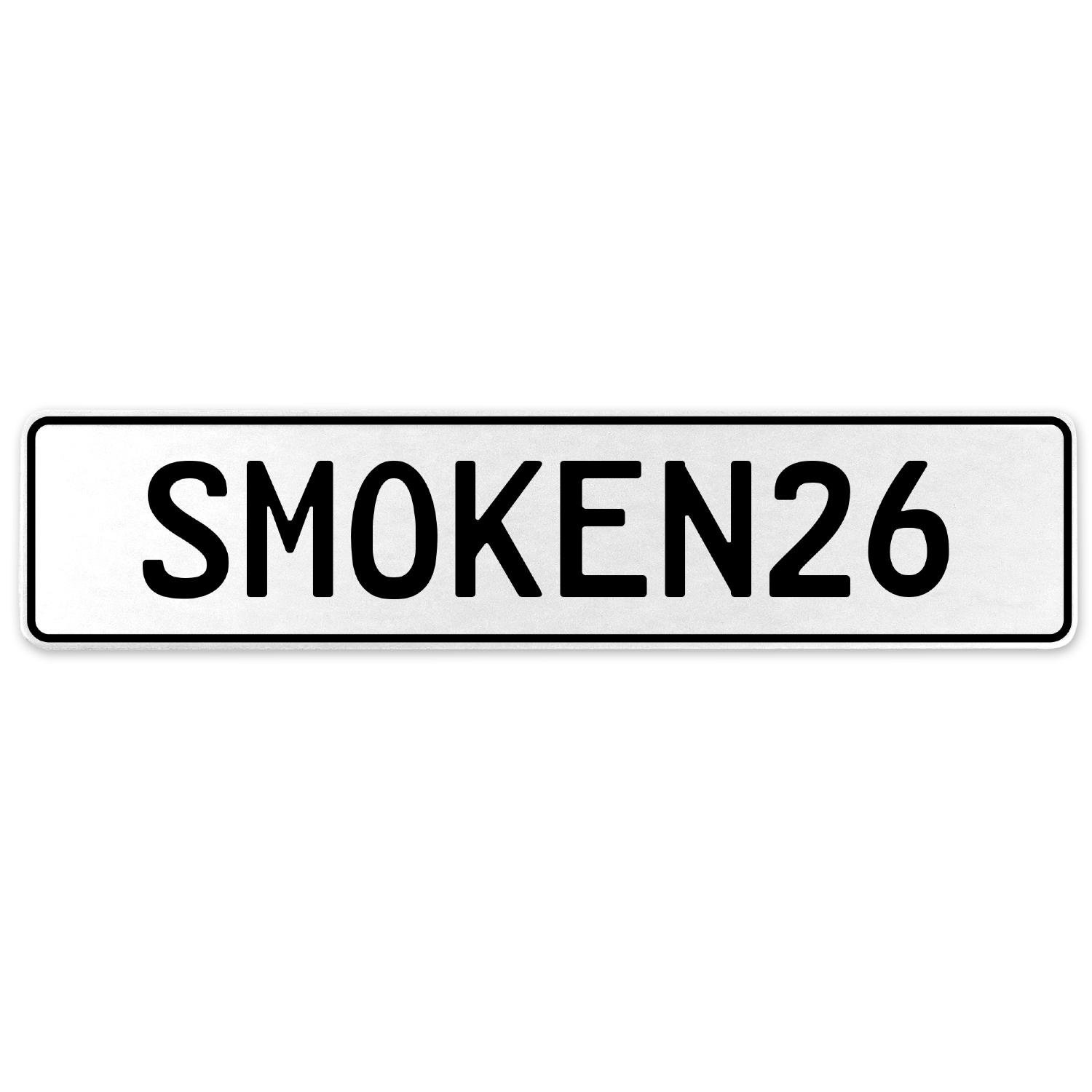 Vintage Parts 556207 SMOKEN26 White Stamped Aluminum European License Plate