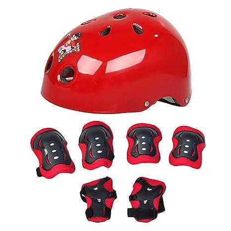 rainfalling Juego de 7 piezas codo muñeca rodilleras y casco deporte seguridad Protective Gear Protector monopatín