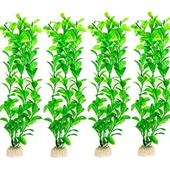 Danmu 4pcs Plastic Artificial Plant Aquatic Plants Aquarium Plants for Fish Tank (Green)