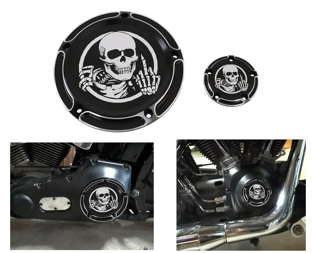 AUFER Black Skull Edge 5-Hole Derby Timer Timing Engine Cover for 1999-2014 Twin Cam Touring Road King Electra Glide FLHR FLHX FXST Dyna