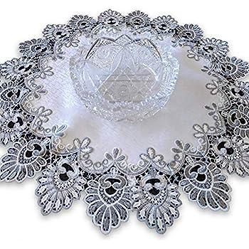 Galleria di Giovanni 24 Inch Doily Silver Gray Lace Antique White Ivory Round