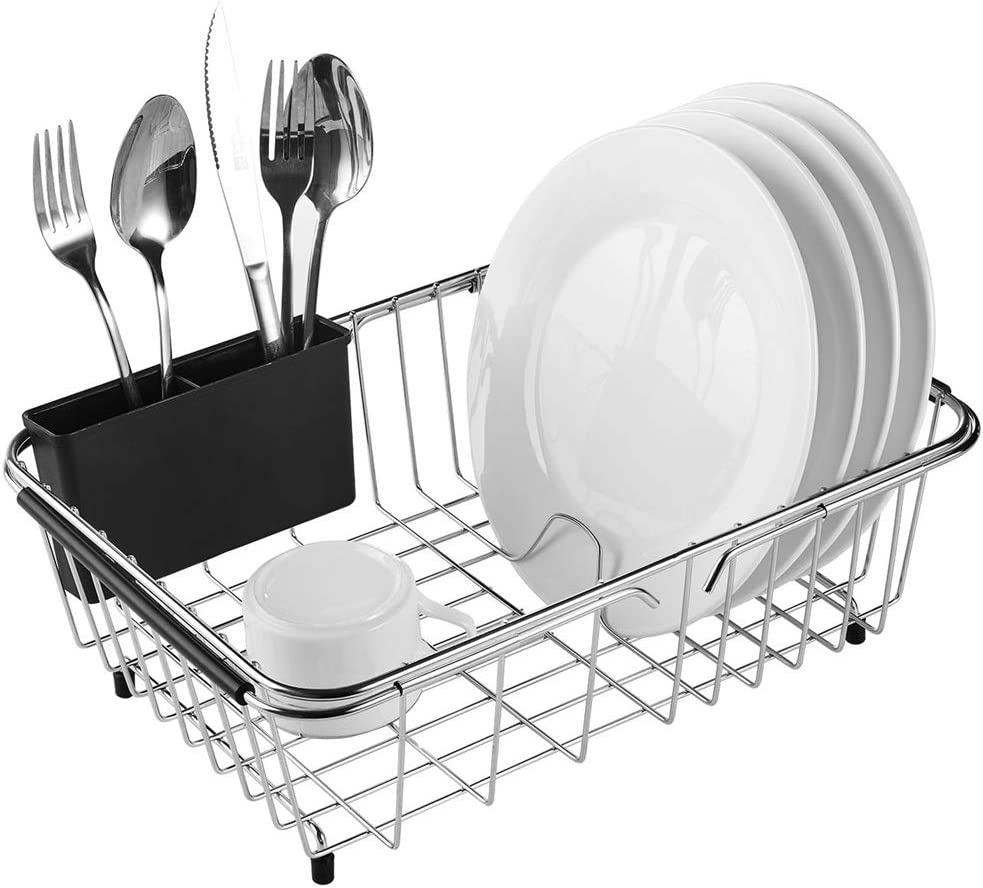 Adjustable Over Sink Dish Rack Stainless Steel Dish Drying Rack On Counter or In Sink – Rustproof
