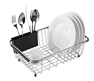 Expandable Dish Drying Rack, 304 Stainless Steel Over Sink Dish Drainer, Dish Rack in Sink or On Counter with Utensil Drying Rack- Rustproof- Medium