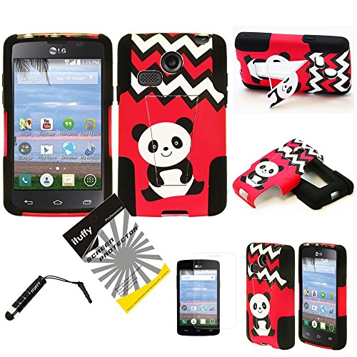 For LG L15G Sunrise L16C Lucky ITUFFY(TM) 3items Combo: LCD Screen Protector Film + Stylus Pen + Dual Layer Impact Resistance Hybrid Armor Case /w Built-In Kickstand (Panda Chevron)