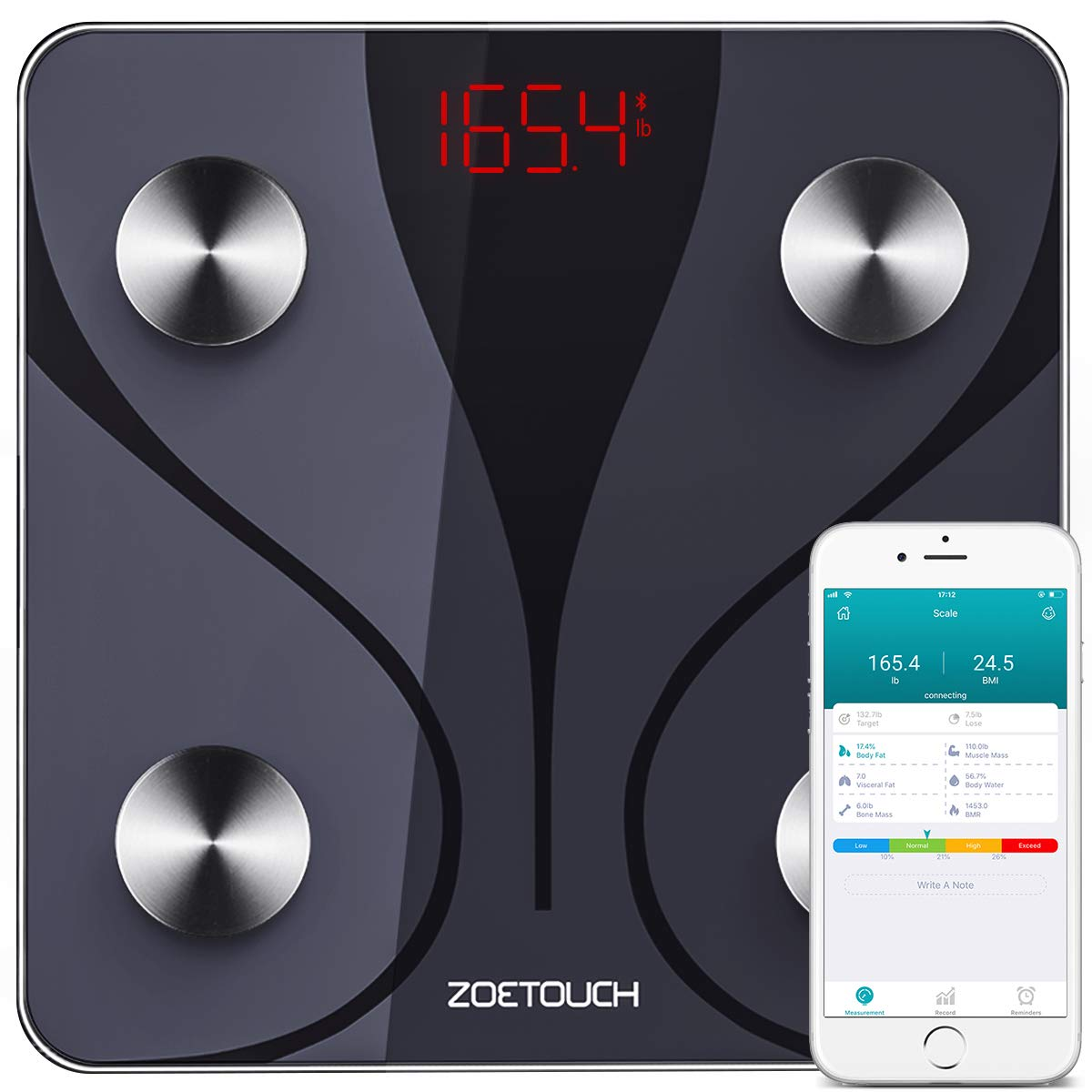ZOETOUCH Bluetooth Body Fat Scale with iOS & Android App, Smart Digital Bathroom Weight Scale, Body Composition Monitor - Black