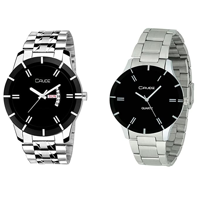 Beautiful Black Color Dial Watches-rg2516 Combo for Couple's With Stainless Steel Strap - By CRUDE