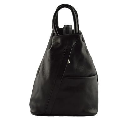 35e9059f7c852 Damen Rucksack In Echtem Leder Mit Verstellbaren Trägern Farbe Schwarz - Italienische  Lederwaren - Rucksack