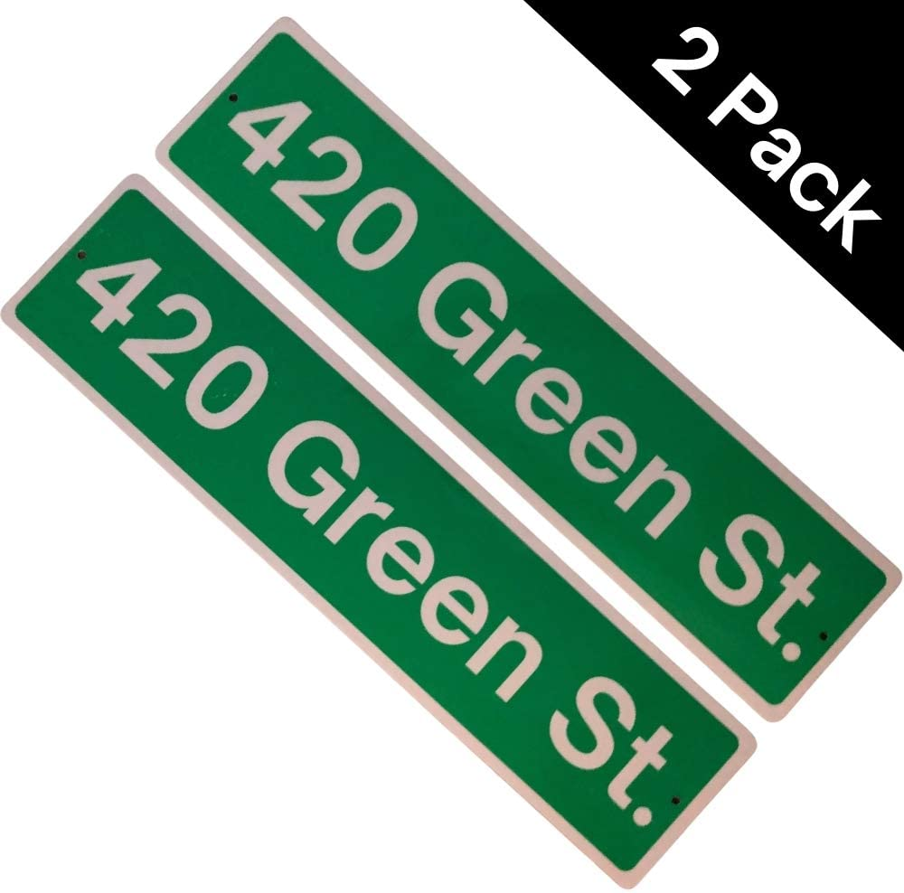 """Stoner Gifts & 420 Party Decorations. Weed Decor for Man Cave. 420 Decor Weed Accessories. Weed Poster, 420 Party Sign, Stoner Room Decor & 420 Gifts. METAL OUTDOOR INDOOR 420 STREET SIGN LARGE 4""""x17"""""""