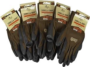 Gorilla Grip Garden Gloves & Work Gloves (5-Pack), Large