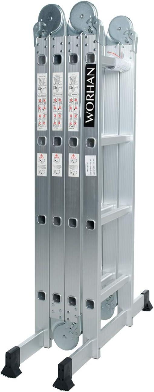 WORHAN® 4.6m Escalera Multiuso Multifuncional Plegable Tijera Bisagra Grande Aluminio con 2 Estabilizadores Nueva Generación Calidad Alta KS4.6: Amazon.es: Bricolaje y herramientas