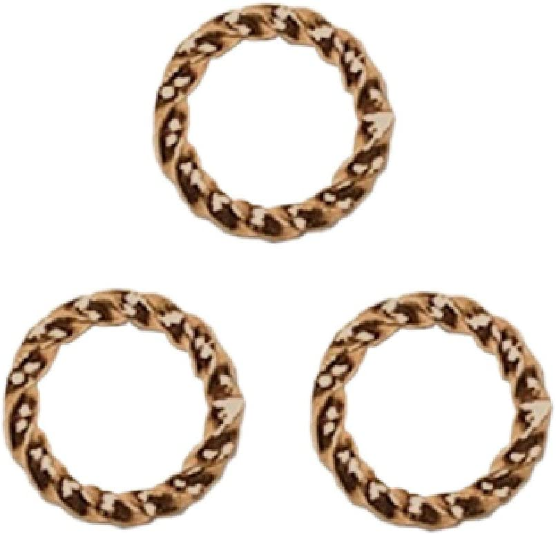 Lot of 20 Plated Fancy Twisted Open 16 Gauge Round Ring Jumprings in Many Sizes