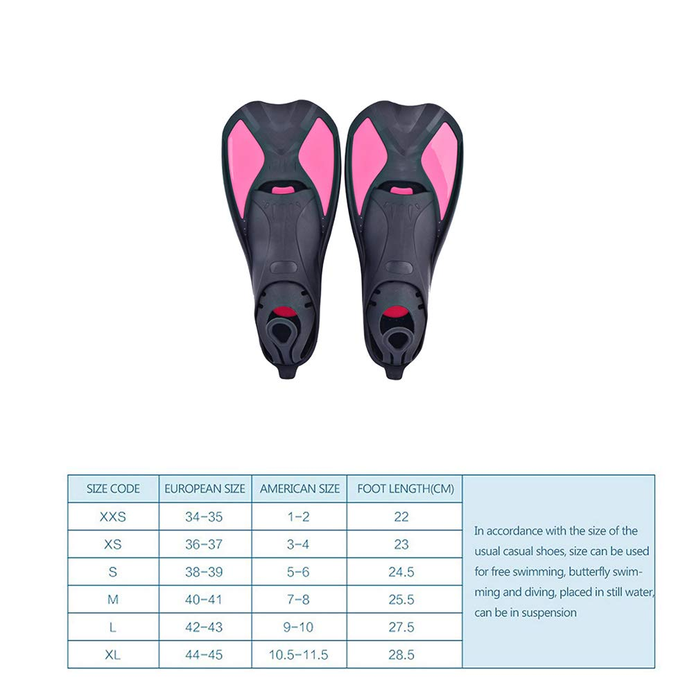 1 Pair Adult Snorkeling Swim Fins Short Blade Diving Fins Adjustable Flippers