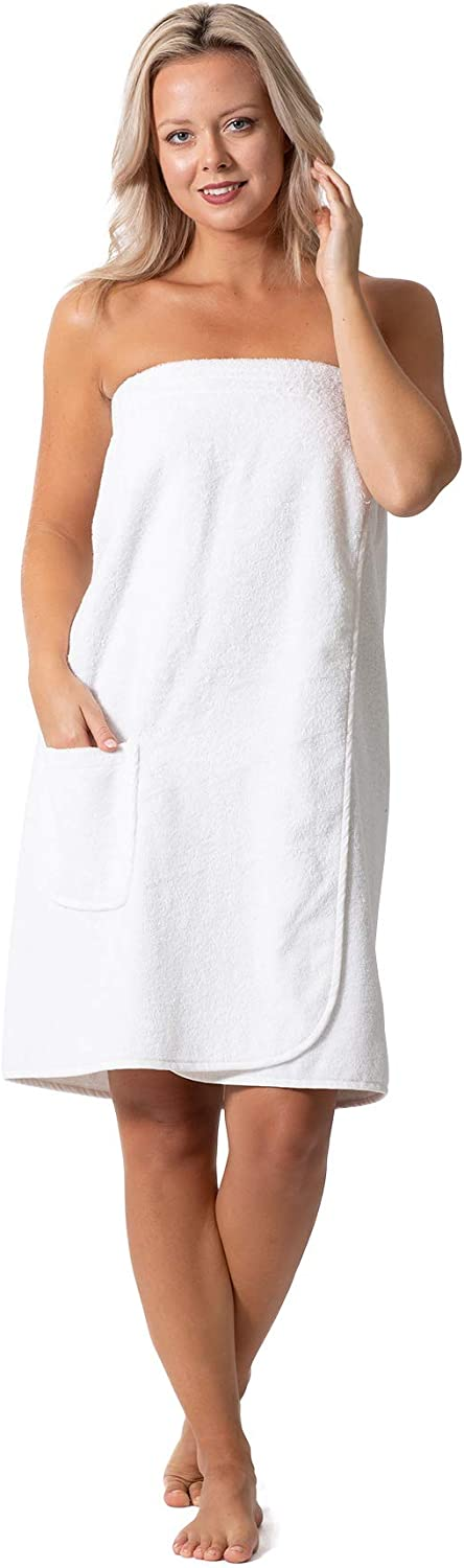 Women/'s Terry Cloth Spa and Bath Towel Wrap with Adjustable Closure /& Elastic Top