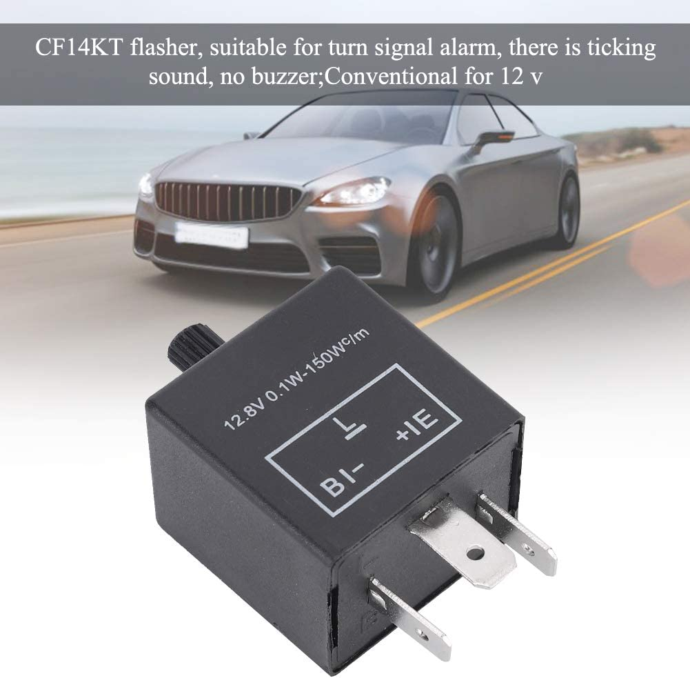 KIMISS CF14KT LED Flasher Relay,Universal 3 Pins 12.8V 0.1W-150W Adjustable LED Turn Light Flasher Flash Relay for Car