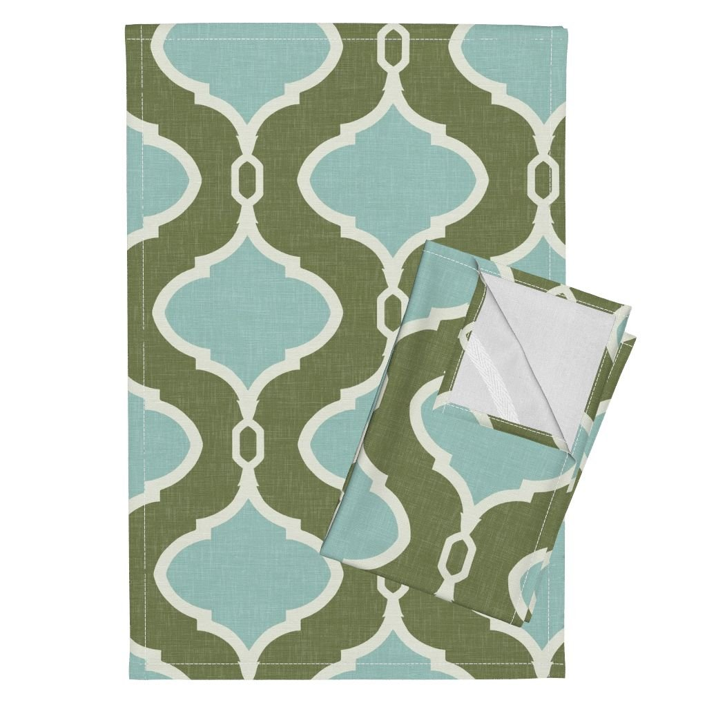 Roostery Green Mint Ogee Trellis Spa Blue Quatrefoil Tea Towels Alessandra Trellis in Deep by Willowlanetextiles Set of 2 Linen Cotton Tea Towels