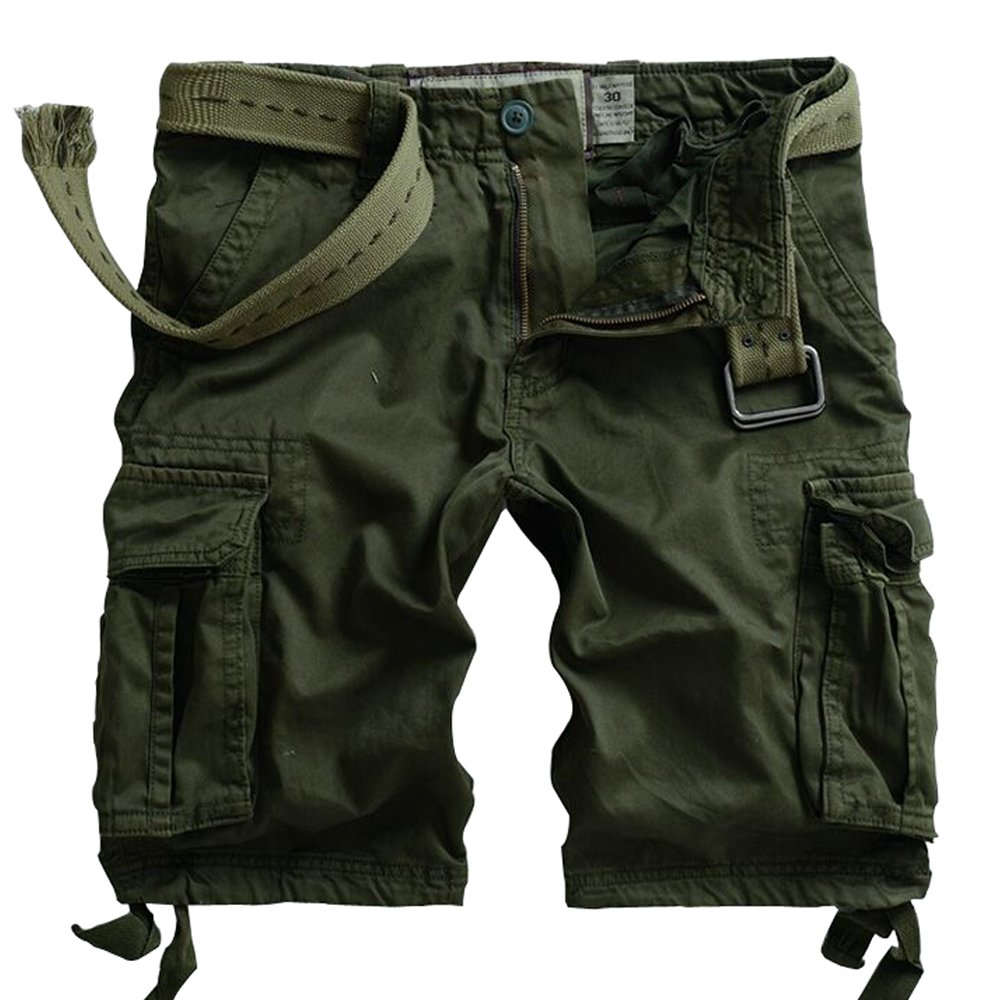 MUST WAY Men's Multi Pocket Slim Fit Cotton Twill Cargo Shorts 8062# Army Green 38