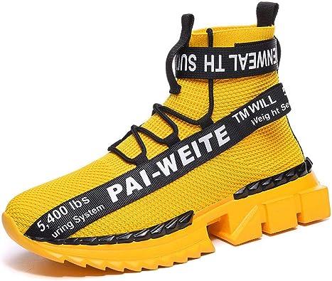 Zapatillas De Baloncesto,Calcetines Altos De Otoño E Invierno para Adolescentes, Talla Grande, Zapatos De Calcetines Altos De Tendencia Street Style-Yellow_41: Amazon.es: Zapatos y complementos