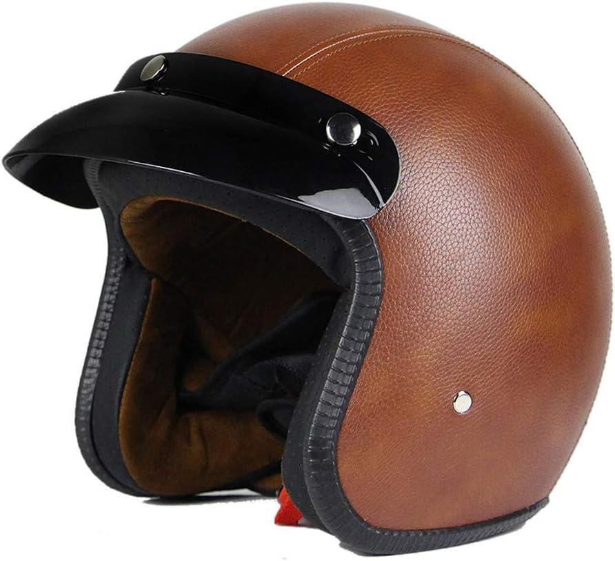 Woljay 3//4 Open Face helmet Motorcycle Helmet Flat leather Brown