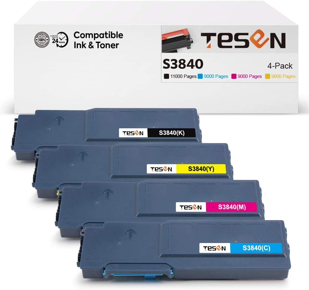 Tesen Compatible S3845cdn Toner Cartridge Replacement for Dell S3840 S3845 S3840cdn S3845cdn Toner Cartridge Extra High Yield (4-Pack,Black Cyan Magenta Yellow)