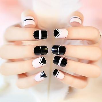 Amazon.com : YUNAI 24 pcs/set Fashion Design Short Fake Nails Length ...