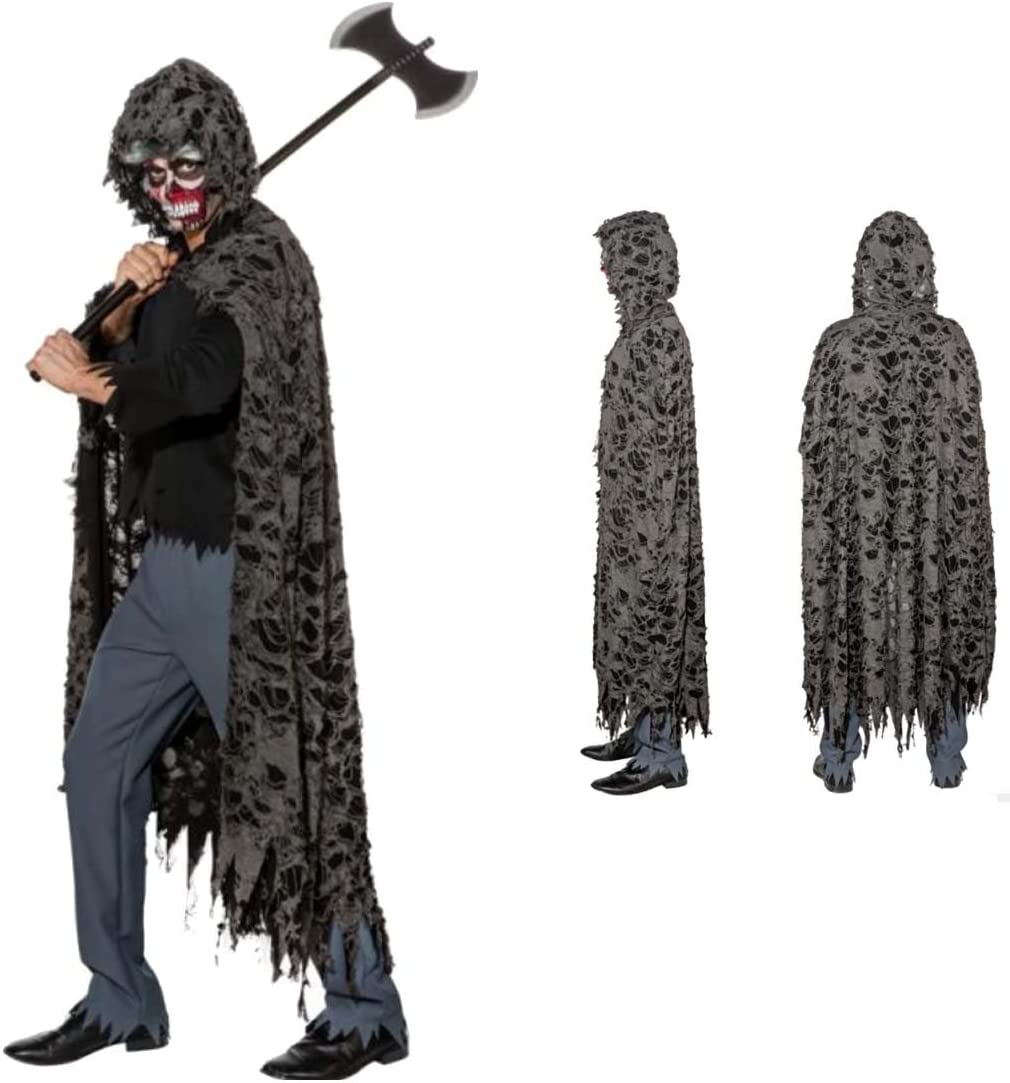 NET TOYS Capa con Harapos Grim Reaper Mantón con Capucha de Terror ...