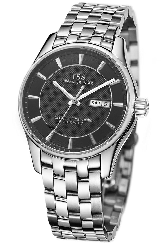 TSS Herren Schwarz Zifferblatt Silber Hand silber Edelstahl Band automatische Bewegung Armbanduhr