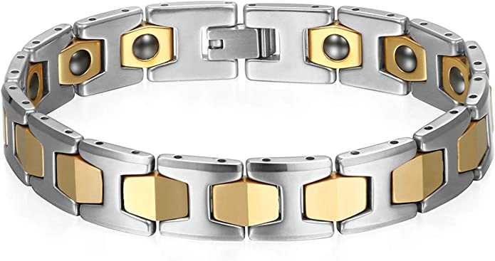 JewelryWe - Pulsera de hombre de acero inoxidable magnético color plateado y dorado para regalo de hombres Argento/Oro: Amazon.es: Ropa y accesorios