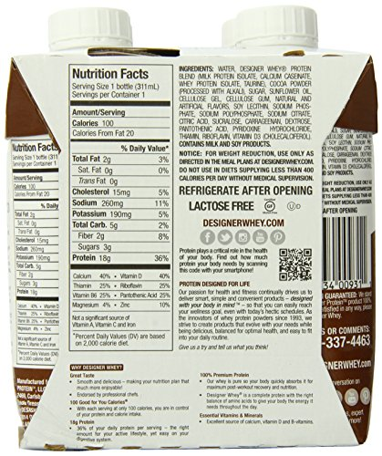 Designer Protein Ready-to-Drink High Protein Shake, Chocolate, 10.5 Fluid Ounce, 12 Count