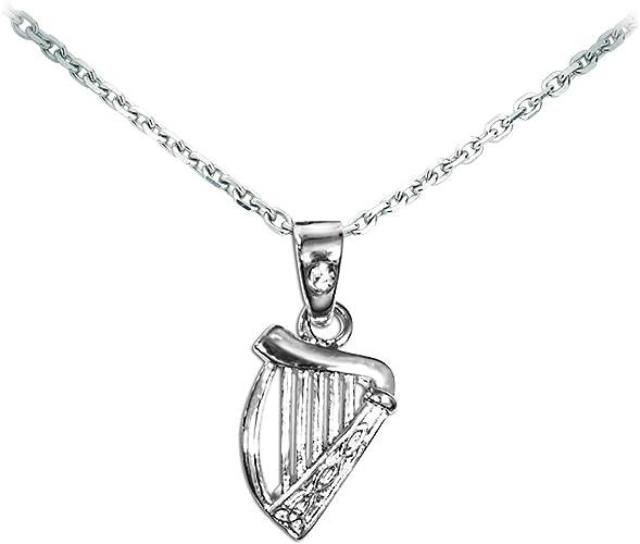 Silver Plated Harp Pendant