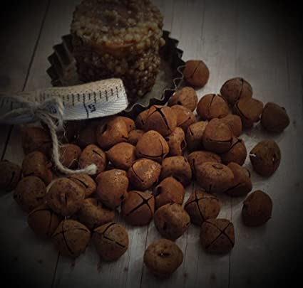 50 Rusty Jingle Bells~Primitive~Country~Accents~Cinnamon Vanilla Scented Hang Tag Too! 18mm~3//4