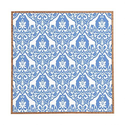 Towel Framed - Deny Designs Jacqueline Maldonado,  Giraffe Damask Pale Blue, Framed Wall Art, Small, 12