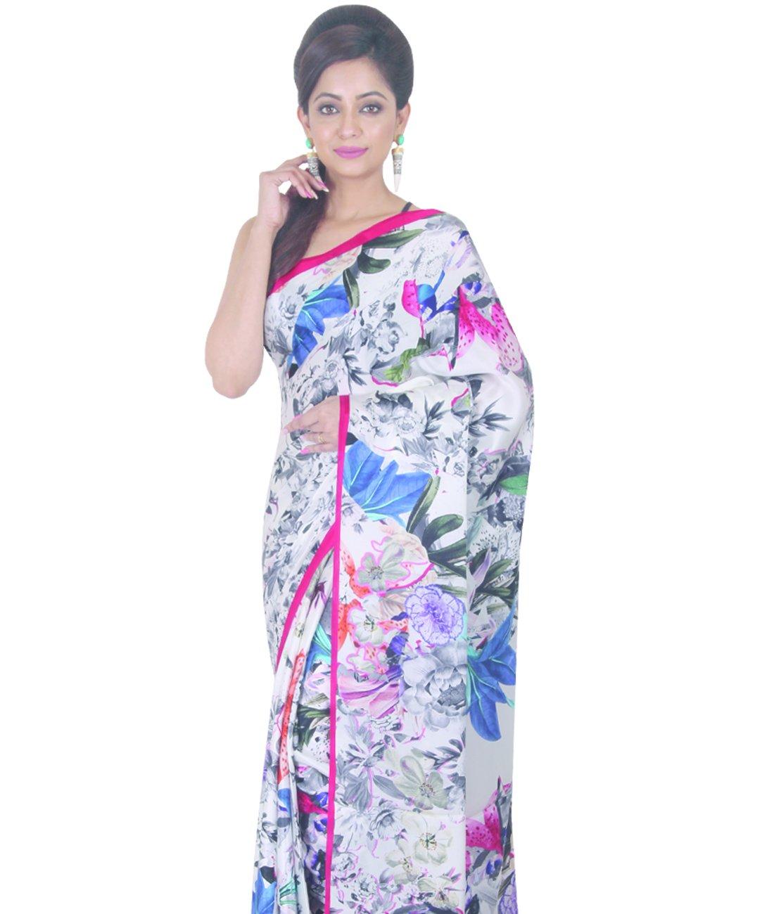 Indian Ethnic Crepe Multicolour Printed Saree by Simaaya Fashions Pvt Ltd (Image #2)