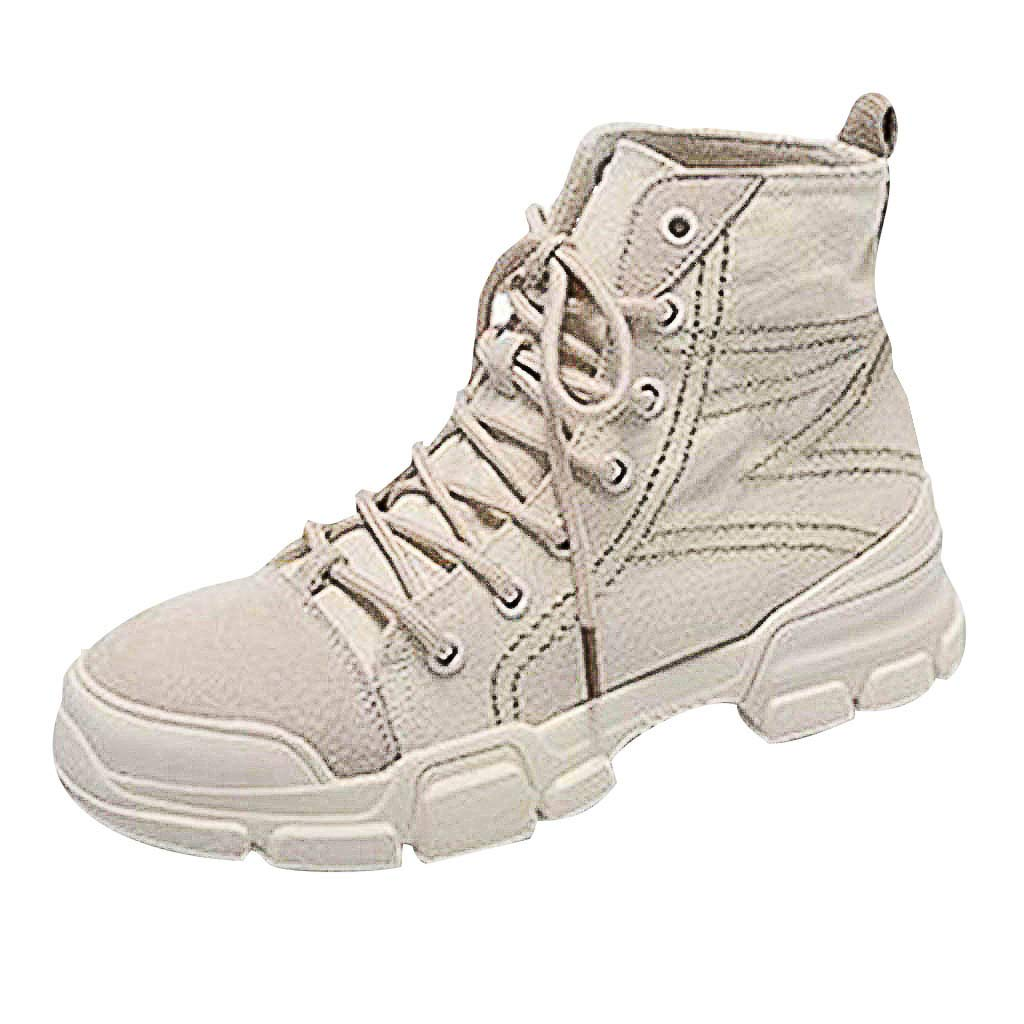 Women's Work Hiking Boots - Fashion Classic Lace-Up Walking Comfort Casual Travel Ankle Boots (US:8.0, Beige)