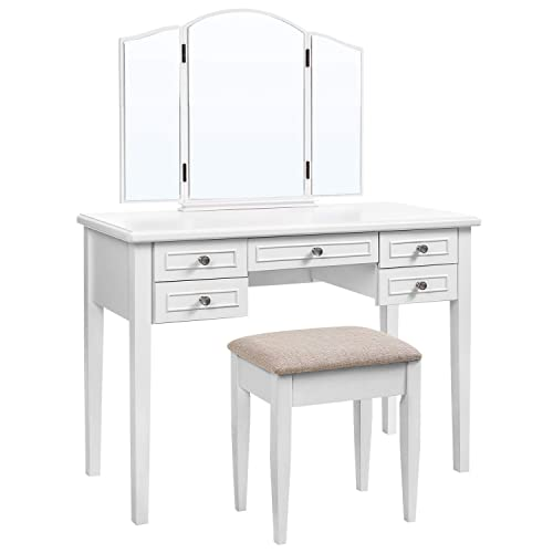 VASAGLE Vanity Set with Tri-Fold Mirror, Dressing Table with 5 Drawers, Desk with 1 Stool, Makeup and Cosmetics Storage, Multifunctional, Easy to Assemble, White