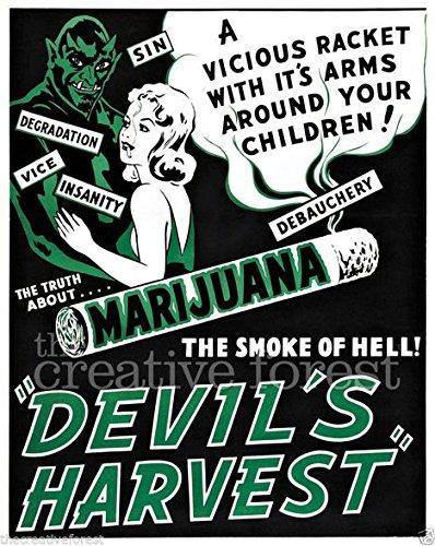 DEVILS HARVEST, Vintage Marijuana Poster Reproduction Rolled CANVAS PRINT