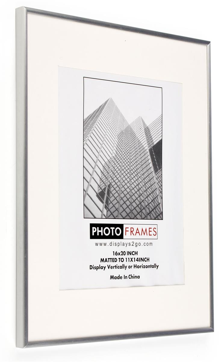 amazoncom displays2go picture frame with removable mat 11 by 14 silver single frames